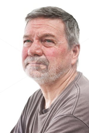 Mature Homeless Man, 3/4 view, isolated stock photo, Mature man of 58 years, with white stubbly beard, 3/4 view, head & shoulders, isolated on white by Steve Carroll