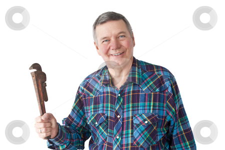 Mature Plumber, Smiling stock photo, Portrait of smiling mature DIY plumber with monkey
