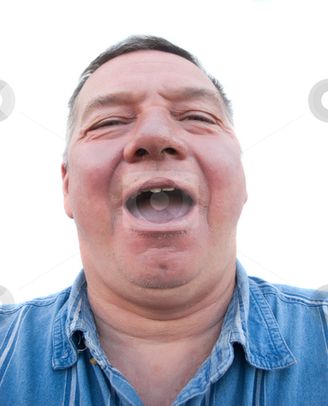 Fat Man Laughing stock photo, Fat man in his 50's laughing.  Isolated against a white background by Steve Carroll
