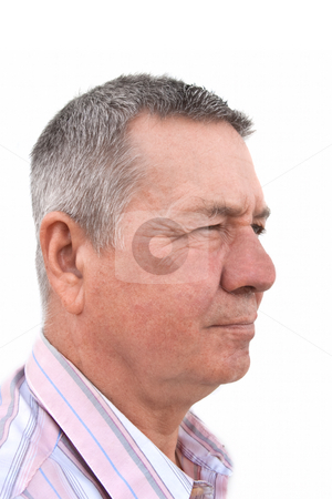 Profile Portrait of Senior Caucasion man stock photo, Profile head shot of a 57 year old Caucasion man thoughtfully looking off into the distance by Steve Carroll