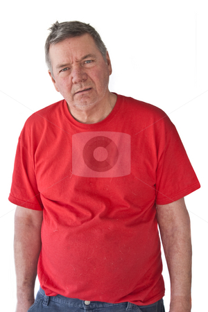 Distraught Mature Man stock photo, Distraught mature man, looking hopeless, isolated on white background. by Steve Carroll