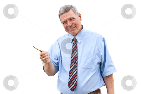 Senior businessman  stock photo, Senior Caucasian businessman gesturing with a pen, all isolated against a white background. by Steve Carroll