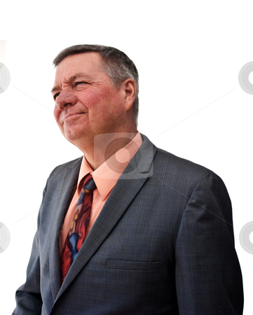 Portrait of Senior Businessman stock photo, Portrait of a senior businessman, 3/4 view looking off into distance, isolated on a white background. by Steve Carroll