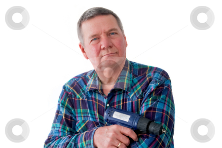 Portrait of Mature Handyman stock photo, Portrait of mature handyman with cordless drill, isolated on a white background. by Steve Carroll