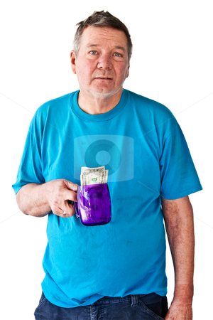 Distraught Mature Man Begging for Money stock photo, Distraught mature man begging for money, isolated on white background. by Steve Carroll