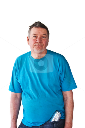 Distraught Mature Man with Beer Can stock photo, Distraught mature man with beer can stuffed into pants, isolated on white background. by Steve Carroll