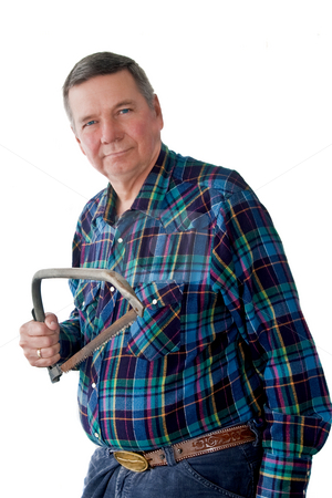 Portrait of Mature Handyman  stock photo, Portrait of mature handyman with tree trimming had saw, isolated on a white background. by Steve Carroll