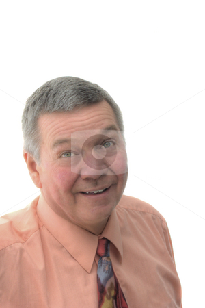 Portrait of Senior Businessman with Rosacea stock photo, Portrait of smiling senior businessman with Rosacea isolated on a white background. by Steve Carroll