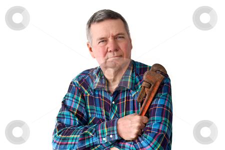 Portrait of Mature DIY plumber stock photo, Portrait of mature handyman with pipe wrench, isolated on a white background. by Steve Carroll