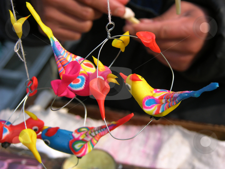 Carving Toy Birds from Wheat Flour Chinese Lunar New Year stock photo, Carving Toy Birds from Wheat Flour, Temple Fair, Chinese Lunar New Year, Beijing, China by William Perry