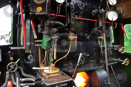 Steam Engine Footplate stock photo, Details of a Steam Engine Footplate and Controls and Burner Stoked ready for the off by Robert Ford