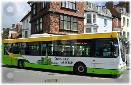 Park and Ride stock photo, Park and Ride bus negotiating a corner in Salisbury city centre by Robert Ford