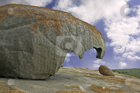 Beak-like formation at the Remarkable Rocks on Kangaroo Island stock photo, Beak-like formation and green vegetation against blue sky and clouds at the Remarkable Rocks outcrop in Flinders Chase National Park on Kangaroo Island, South Australia by Stephen Goodwin