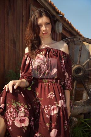 Rural girl stock photo, Beautiful rural girl near the dwelling. by Sergey Goruppa