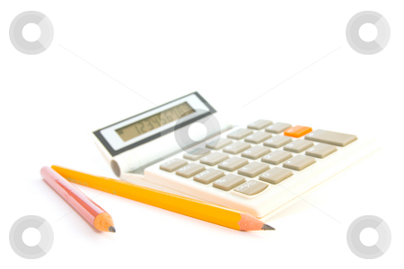 Calculator with Pencils stock photo, White calculator with red and yelow pencils on a white background by Keith Wilson