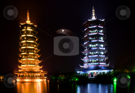 Silver and Gold Pagodas Guilin China with Moon stock photo, Silver, Moon, and Gold, Sun, Pagodas with Moon Guilin, Guangxi Province, China by William Perry