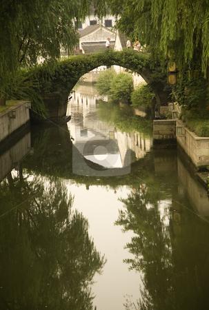 Shaoxing Bridge, Zhejiang, China stock photo, Moon Bridge, Shaoxing, Zhejiang Province, China  Water Reflections, Rural China by William Perry