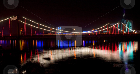 Jiangqun Bridge Crossing Hun River at Night Fuxin City China stock photo, Jiangqun Qiao, General Bridge, at Night with Lights and Reflections Crossing Hun River, Fuxin City, Liaoning Province, China by William Perry