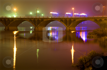 Bridge Hun River at Night with Reflections Liaoning Province Chi stock photo, Bridge Hun River Night Lights with Reflections Fushun, Shenyang, Liaoning Province, China by William Perry