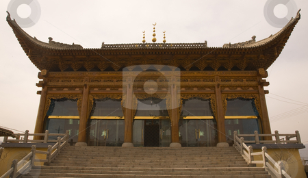 Ornate Wooden Mosque Lanzhou Gansu Province China stock photo, Wooden Mosque, Lanzhou City, Gansu Province, China  Ornate Chinese style in Uighur area by William Perry