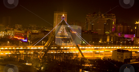 Night Shot Bridge Xining City Qinghai Province China stock photo, Night Shot Bridge Xining, Provincial Capital, Qinghai Province, China City Scene