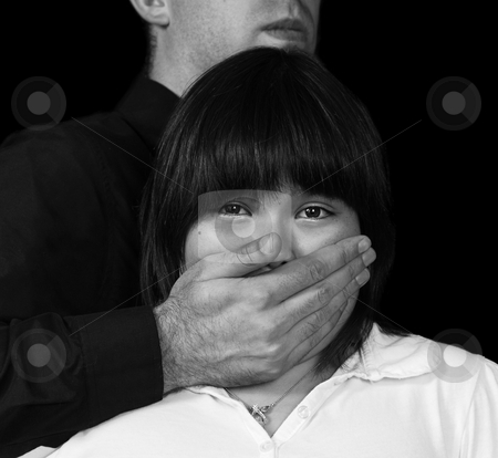 Kidnap stock photo, Concept image of a kidnapping in progress, post processed in black and white for more drama by Richard Nelson
