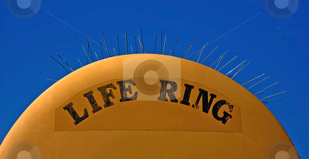 Humorous Life Ring Object stock photo, This life ring object has a humorous twist by its sharp pointer spikes sticking out of the top. by Valerie Garner