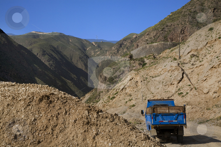Metal Mine Gansu Province China stock photo, Metal Mine Truck Gansu Province China by William Perry