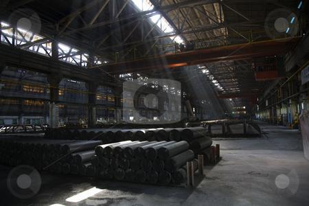 Light Shafts Inside Dark Metals Factory Gansu Province China stock photo, Light Shafts Inside Dark Metals Factory Gansu Province China by William Perry