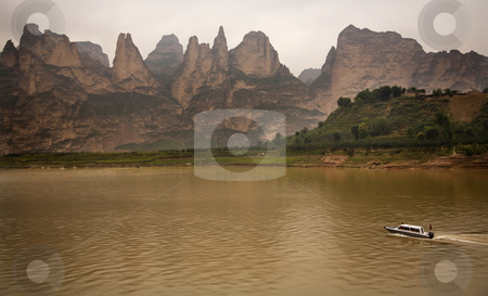 Liujiaxia Reservoir Canyon Binglin Si Buddhist Temple Lanzhou Ga stock photo, Liuijiaxia Reservoir Canyon Binglin Si Buddhist Temple Lanzhou Gansu China by William Perry