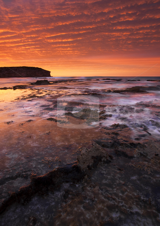 Red Tides stock photo, An unbeleivable sunrise reflects in the tidepools at Pennington Bay on Kangaroo Island, South Australia by Mike Dawson