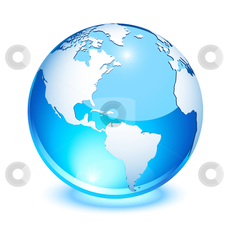 Crystal earth stock vector clipart, Blue crystal earth showing north and south America by Laurent Renault