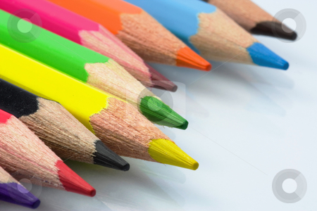 Colored pencils stock photo, Close up of colorerd pencils by Gabriele Mesaglio