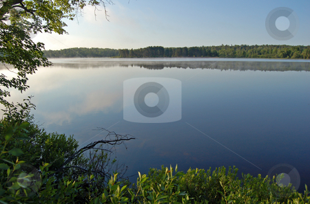 Lake stock photo, Sunrise in beautiful lake in Samuel de Champlain  Park by Pavel Cheiko