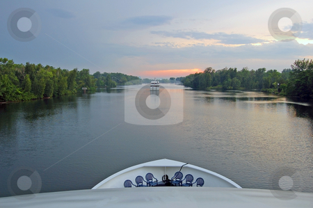Ontario lake cruise stock photo, Boat Ontario lake cruise in time of sunset by Pavel Cheiko
