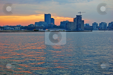 Totonto stock photo, Toronto skyline from Ontario lake in time of sunset by Pavel Cheiko