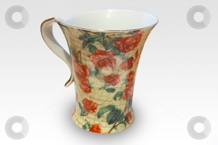 Mug stock photo, Mug with flowers by Pavel Cheiko