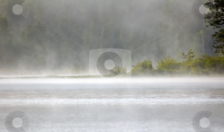 Fog stock photo, Fog above lake in the morning by Pavel Cheiko