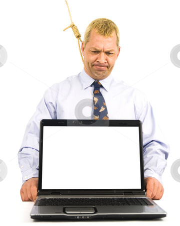 Frustrated Business Man stock photo, Frustrated Business man with laptop on a white background by John Teeter