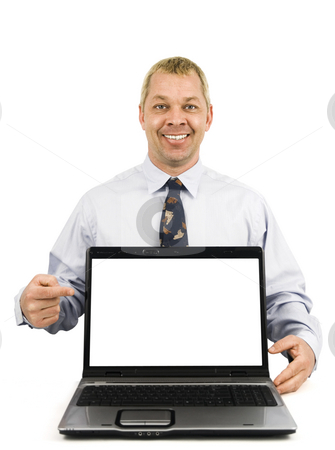 Happy business man presenting stock photo, Happy business man pointing to presentation on laptop by John Teeter