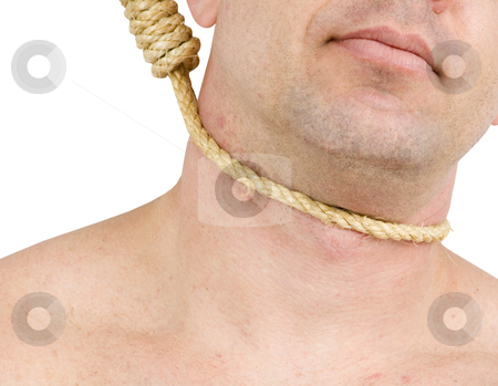 Man hanging from noose stock photo, Man hanging from noose on white background by John Teeter