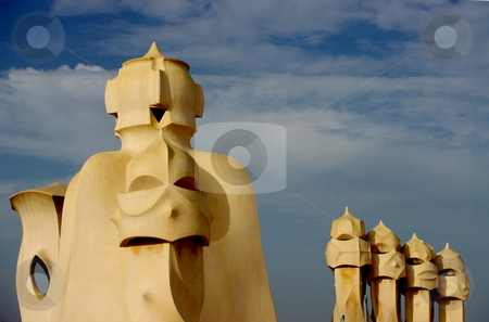 La Pedrera  stock photo, Roof-top sculptures on Gaudi's La Pedrera. Barcelona, Spain by Martin Darley