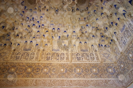 Islamic Art stock photo, Ceiling plaster moulding in the Alhambra. Granada, Spain by Martin Darley