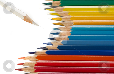Color pencils stock photo, Palette of color pencils on a white background. by Sergey Goruppa