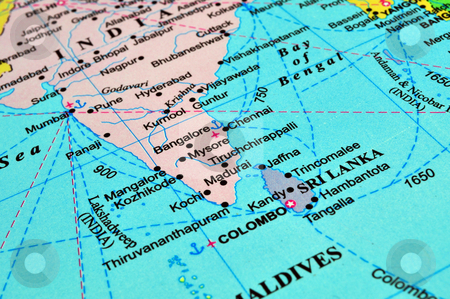 Sri Lanka and India map stock photo, Map of South Asia: Sri Lanka and India by Fernando Barozza