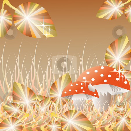 Mushrooms in the forest stock vector clipart, Mushrooms in the forest with autumn leaves pastel toned by Karin Claus