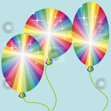 Three rainbow colored balloons stock vector clipart, Three rainbow colored balloons with sparkles on a blue background by Karin Claus