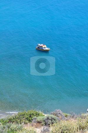 Boat in the Mediterranean Sea stock photo, Travel photography: Boat in the Mediterranean Sea, Crete, Greece by Fernando Barozza