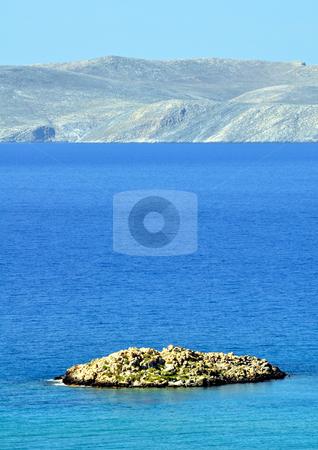 Small island in the Mediterranean stock photo, Travel photography: Rocky Island in The Mediterranean Sea, Crete, Greece by Fernando Barozza