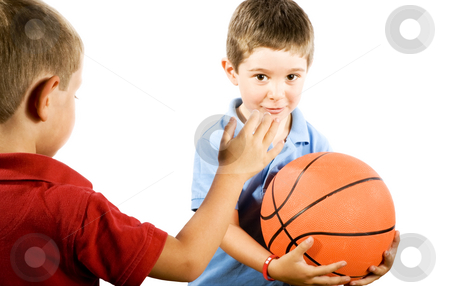 Kids playing Basketball stock photo, Stock photo of boys playing basketball, isolated on white by iodrakon